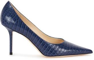 Jimmy Choo Love 85 blue crocodile-effect leather pumps