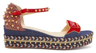 Christian Louboutin S Padrilla 60 Denim Flatform Espadrille Sandals - Womens - Denim
