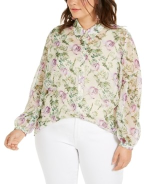 INC International Concepts Plus Size Floral-Print Top, Created for Macy's