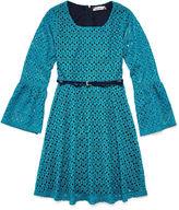 Speechless Bell-Sleeve Teal Lace Skater Dress - Girls 7-16