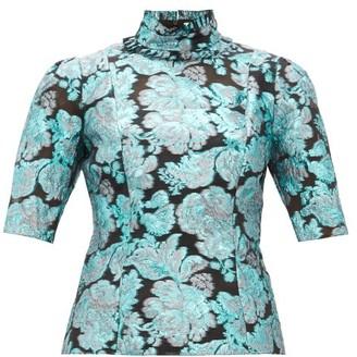Erdem Saveria High-neck Brocade Silk-blend Blouse - Womens - Blue