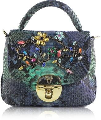 Ghibli Python Leather Top-Handle Bag w/Crystals