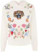 Topshop Tiger Print Embroidered Hoodie