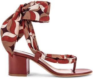 Gianvito Rossi Scarf Tie Sandals in Crimson & Crimson | FWRD