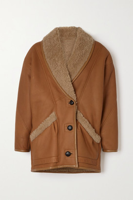 Isabel Marant Audrina Shearling-trimmed Leather Jacket - Camel