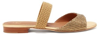 Malone Souliers Milena Woven-lurex Backless Sandals - Gold