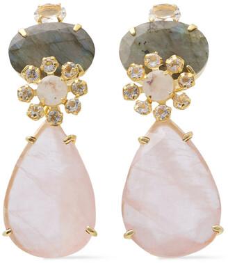 Bounkit 14-karat Gold-plated, Moonstone, Quartz And Labradorite Earrings