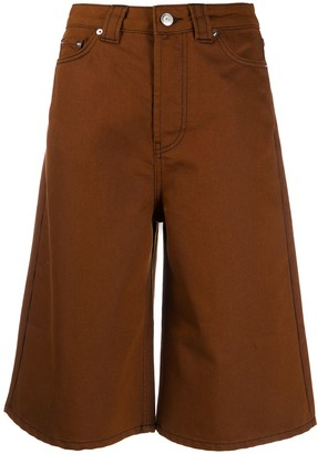 Ganni Knee-Length Denim Shorts