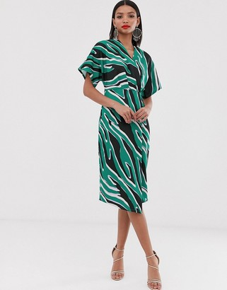 Closet London kimono wrap midi dress in mixed print-Purple