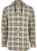 River Island Mens Big and Tall Cream hooded check shirt