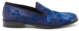 Alexander McQueen Floral-patterned Satin Loafers - Mens - Black Blue