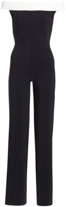 Chiara Boni Color Block Off-The-Shoulder Jumpsuit