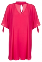 Quiz Curve Hot Pink Choker Detail Tie Sleeve Tunic Dress