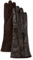 Portolano Leather & Suede Tassel Gloves, Black/Chocolate