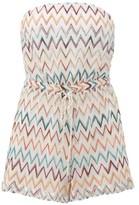 Missoni Mare - Metallic Zigzag-knit Strapless Playsuit - Womens - White Multi