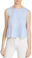 Aqua Stripe Sleeveless Ruffle Top - 100% Exclusive