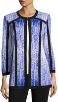 Misook Printed 3/4-Sleeve Jacket, Blue/White