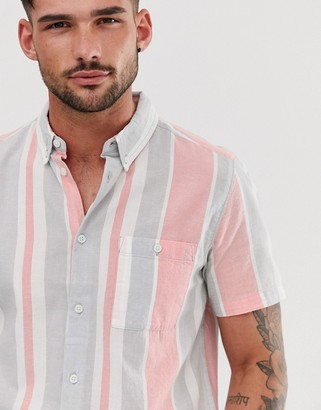 Burton Menswear shirt with stripes in pink-Red