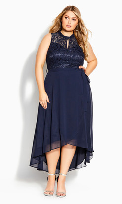 City Chic Hi Lo Lover Dress - navy
