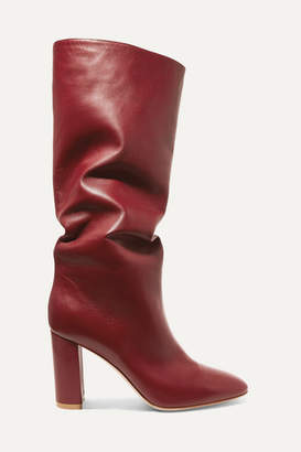 Gianvito Rossi Laura 85 Leather Knee Boots - Burgundy