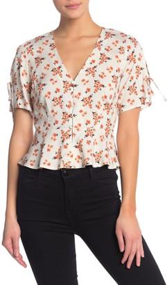 re:named apparel Lyn Short Sleeve Peplum Blouse