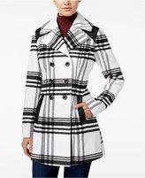 Amy Byer Juniors' Plaid Faux-Leather-Trim Walker Coat