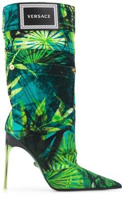 Versace Jungle print stiletto boots
