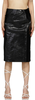 Lemaire Black Coated Linen Canvas Straight Skirt