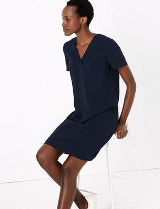 Marks and Spencer Crepe V-Neck Knee Length Shift Dress