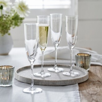 The White Company Belgravia Champagne Flute - Set of 4, Clear, One Size