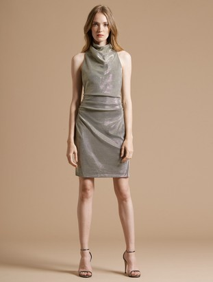 Halston Draped Mock Neck Metallic Knit Dress