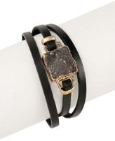 Saachi Square Faux Druzy Genuine Leather Bracelet