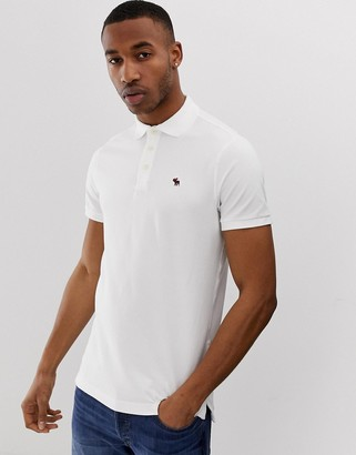 Abercrombie & Fitch icon logo pique polo in white