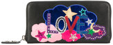 Saint Laurent Love embroidered wallet - women - Leather - One Size