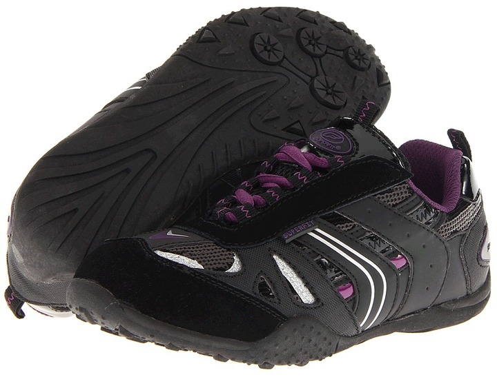 Superfit Megan (Little Kid/Big Kid) (Black/Deep Purple) - Footwear