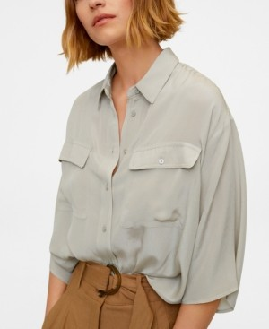 MANGO Women's Pockets Flowy Shirt
