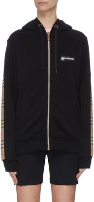 Burberry Check panel zip-up hoodie