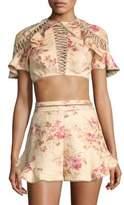 Zimmermann Flutter Lace-Up Linen Crop Top