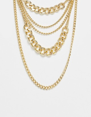 Ashiana chunky multi layered gold chain necklace