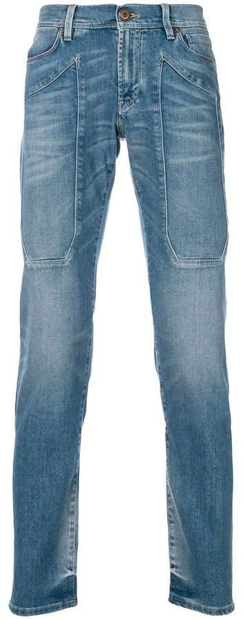 Jeckerson patch detail straight leg jeans