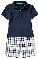Nautica Little Boys 4-7 Solid Polo Shirt & Plaid Shorts Set