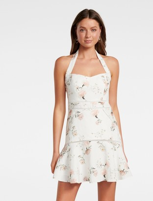 Forever New Arianna Halter Mini Dress - Porcelain Bloom - 10