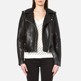 Gestuz Women's Heep Embroidered & Stud Leather Jacket Black