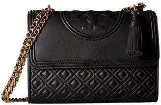Tory Burch Fleming Convertible Shoulder Bag (Black) Shoulder Handbags