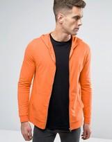Asos Muscle Zip Up Hoodie In Orange