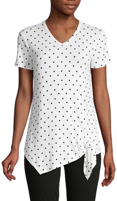 C&C California Polka Dot-Print Tie-Front Top
