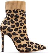 Gianvito Rossi Sauvage 100 Leopard-print Stretch-knit Sock Boots - Leopard print