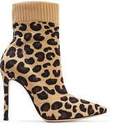 Gianvito Rossi Sauvage Leopard-print Stretch-knit Sock Boots - Leopard print