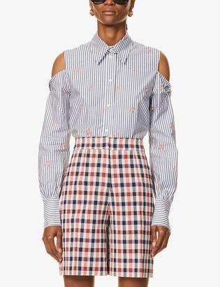 Victoria Victoria Beckham Cold shoulder pinstriped cotton-poplin shirt