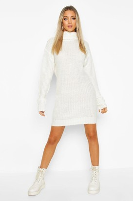 boohoo Roll Neck Fisherman Sweater Dress